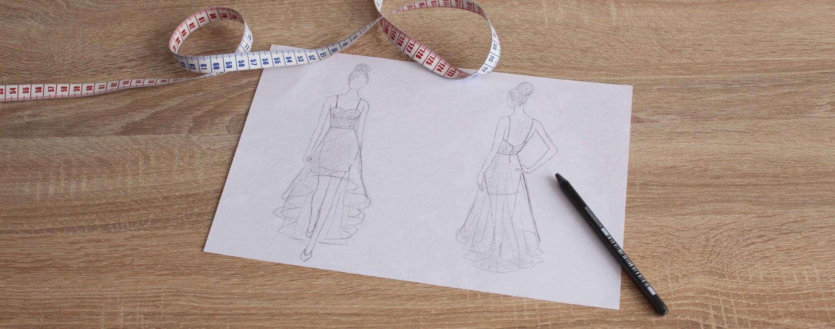 dessin robe de soirée Défil&Caurie